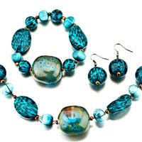 Pugster Blue Necklace Bracelet And Earrings Set Pendant