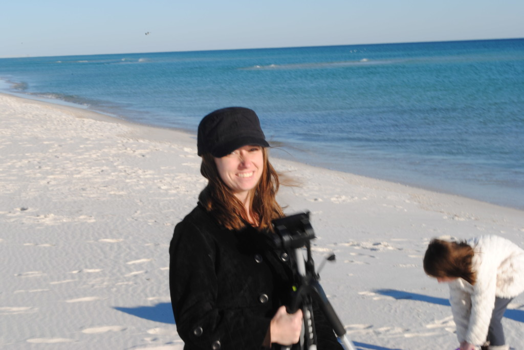 Getting the tripod ready to pictures of Navarre Beach